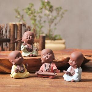 4pcs/lot little monk zisha tea pet creative purple clay tea play book chess pose
