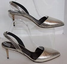 oscar de la renta pamle smoke cracked metallic sling backs  8.5 m us euro 38.5