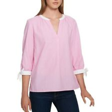 TOMMY HILFIGER NEW Women's Pink Striped Tie-sleeve V Neck Blouse Shirt Top TEDO
