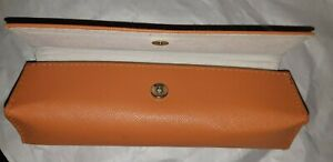 Tory Burch Orange Textured Sunglasses Glass Case Magnetic Snap Closure