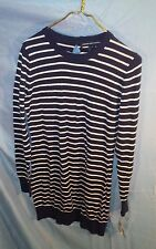 French Connection Nocturnal Black/White Striped Long Sleeve Sweater Dress sz 8
