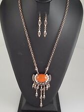 Gold Orange and Multi Colored Antique Looking FASHION Necklace Set