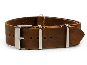 Dark Brown Oiled Leather One-Piece Watch Band - 18, 20, 22 or 24mm