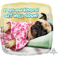 "18"" GET WELL SOON REST UP POORLY SICK HELIUM FOIL BALLOON PUG DOG CUTE 36592"