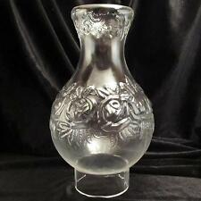 ROSE Pattern clear Glass oil lamp Chimney 3 inch base /  #2 or #3 burners roses