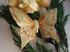 Gold Glitter Feather Butterfly - 7.5cm - Table Decorations