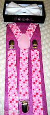 Valentine Solid White Adjustable Bow Tie & Pink White Stars Suspenders Combo-New