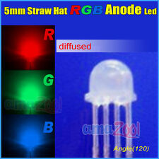 1000PCS X 4Pin 5mm Straw Hat Common Anode diffused RGB LED Light Red/Green/Blue