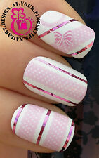 NAIL ART WRAP WATER TRANSFER DECALS PINK & WHITE RIBBON/DOTS & BOWS LACE  #165