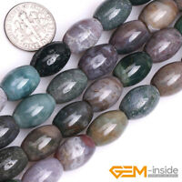 """Natural Stone Indian Agate Olivary Rice Beads For Jewelry Making 15""""6x9mm 8x12mm"""