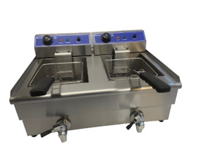 Quantum CE ® Chip Fryer 13 Litre Twin Table Top Electric With Tap TF13WT
