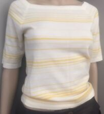 NWOT Striped  yellow and cream cashmere square necked  sweater by Agnona sz 6