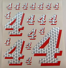 Racing Numbers Number 4 Decal Sticker Pack Silver Red 1/8 1/10 RC models S03