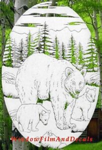 Bears Static Cling Window Decal 10x16 OVAL Etched Glass Look Country Door Decor