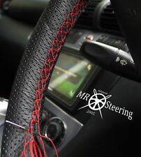 FOR VW TRANSPORTER T4 91+ PERFORATED LEATHER STEERING WHEEL COVER RED DOUBLE ST