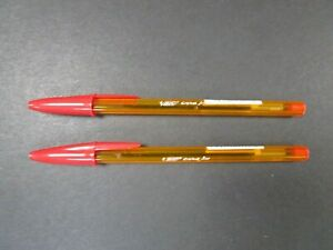BRAND NEW PIC CRYSTAL FINE 0.8mm BALLPOINT RED PENS x2 (1 Buy Per Person)