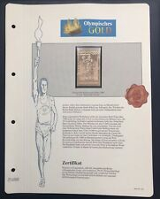 Olympics Roma 1960 Italia Italy Gold stamp 99,8% Goldauflage Only 4.999 MNH 4/10
