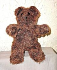"12"" Sawdust Humpback Fully Jointed Brown Plush Teddy Bear Button Eyes Sawdust"