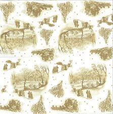 2 Serviettes papier Toile de Jouy Paysage Hiver Decoupage Paper Napkins Winter