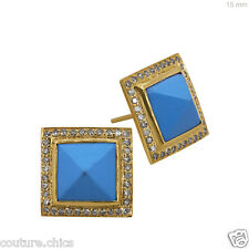 Turquoise Gemstone Pave Diamond Fine Stud Square Earrings 18k Yellow Solid Gold