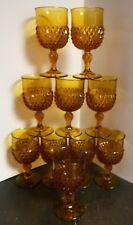 Vintage Set of (10) Indiana Glass Diamond Pattern Stemmed Amber Glasses Excellen