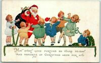 Santa Claus with Happy Children~Antique Christmas Postcard~Unused-s627
