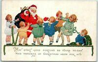 Santa Claus with Happy Children~Antique Christmas Postcard~Unused-s627