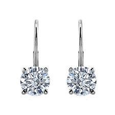 0.33 Carat White Round Diamond Women Drop Leverback Pair Earrings G-SI2 14k Gold