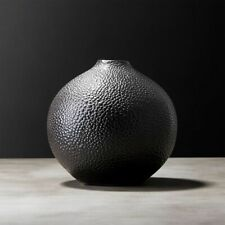 SHAGREEN VASE by CB2 Faux Embossed Sharkskin Gourd Like Vase Black