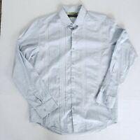 Cubavera Mens Medium Slim Fit button down Shirt 100% Cotton Blue White Striped