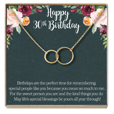 30th Birthday Gift Necklace: Jewelry Gift For Her, 2 Asymmetrical Circles