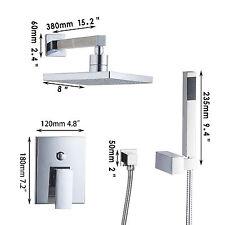 "Bathroom 8""  Ultra Thin Rain Shower Head Hand Shower Spray Taps Faucet Set KIT"