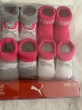 NEW PUMA Infant Booties 0-12 Months Pink Gray And White Baby Shoes 4 Pair Pack