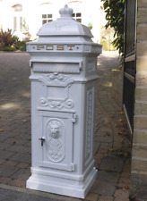 Large Vintage White Aluminium Free Standing Mailing Post Box Wedding Metal Grand