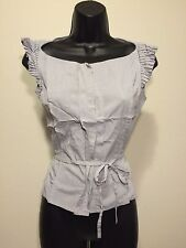 Women's INDIVI Gray Knit Top Blouse  French Style Size 38 Small EU Tie Waist