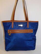 Michael Kors Kempton Navy Blue Nylon Brown Leather Large Tote Shoulder Bag