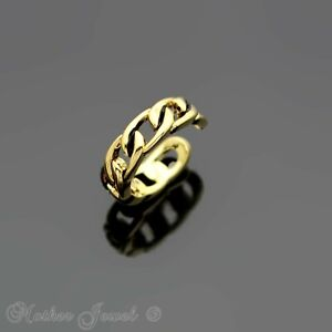 14K YELLOW GOLD IP OPEN LINKED CHAIN TOE MIDI ADJUSTABLE SMALL RING