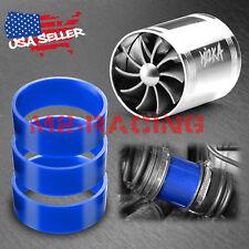 "Mi2KA Turbine Air Intake Fuel Gas Saver Double Fan System Turbo 2.5""-3.0"" Silver"