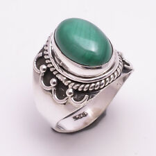 925 Sterling Silver Ring US Size 7, Natural Malachit Gemstone Jewelry R1282