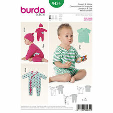 Burda Sewing Pattern 9434 size 1m-18m  All-In-One Jumpsuits short and long & Hat