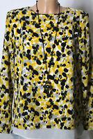 Bluse Gr. 38 weiß-schwarz-gelb Muster Chiffon Bluse/Tunika mit eingenähtem Top