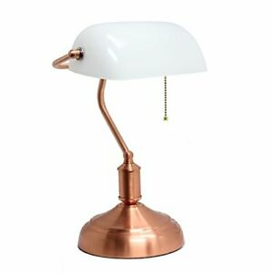 Simple Designs Simple Designs Executive Banker's Desk Lamp with Glass Shade