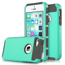 For iPhone 4 4S 5 5S 5C Phone Case, Shockproof Cover+Tempered Glass Protector