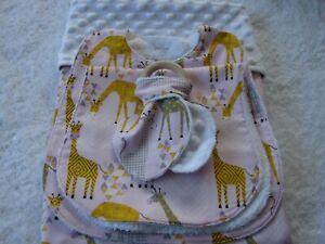 Giraffes White Minky Bassinet/Crib/Blanket/Bib/Burp Cloth/Teething Ring Set