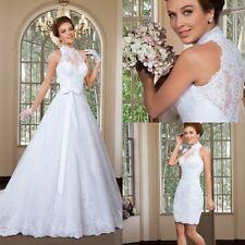 A Line High Neck Lace Bridal Wedding Dresses Detachable Skirt Sweep Train Gowns