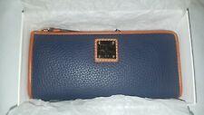 Dooney & Bourke Pebble Grain Zip Clutch Wallet ZR155 Midnight Blue NWT $138