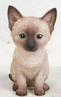 Sitting Siamese Cat Kitten Realistic - Life Like Figurine Statue Home / Garden