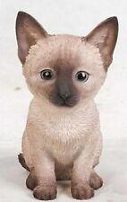Sitting Siamese Cat Kitten Realistic - Life Like Figurine Statue Home / Garden