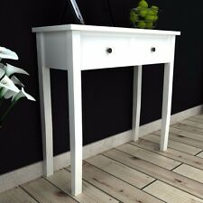 Shabby Chic White Console Hall Table Side End Wooden Dressing Desk 2 Drawers