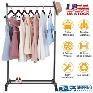 Adjustable Commercial Garment Rack Rolling Foldable Clothing Shelf with Wheels